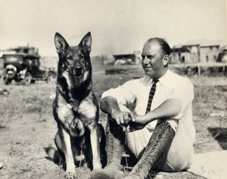Edward A. Bellande with Rin Tin Tin -- 1925